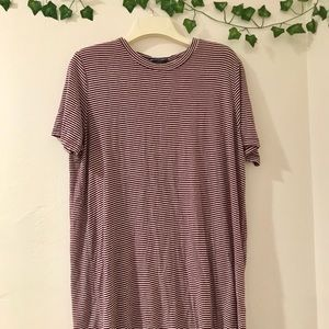 Brandy Melville Dresses - Maroon striped brandy Melville T-shirt dress